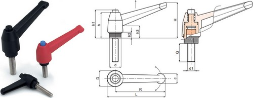 Indexed clamping lever with plastic push button and stainless steel threaded stud