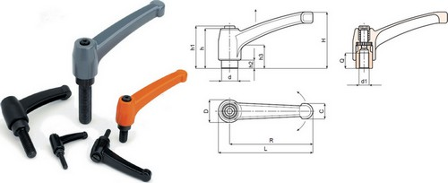 Zamak alloy indexed clamping lever with threaded stud