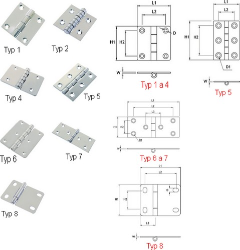Square Stainless Steel Hinges