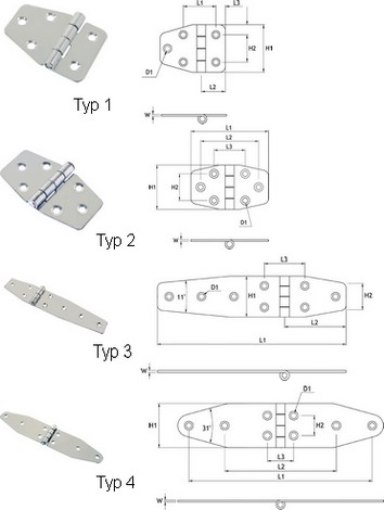 Angled Stainless Steel Hinges
