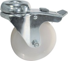 Industrial Castors - Nylon Wheel Bolt Hole Braked
