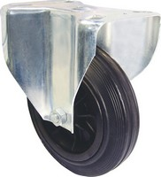 Industrial Castors - Black Rubber Tyre, Plastic Centre Fixed Plate