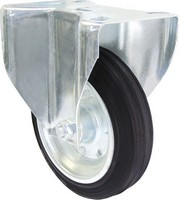 Industrial Castors - Black Rubber Tyre, Steel Centre Fixed Plate
