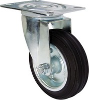 Industrial Castors - Black Rubber Tyre, Steel Centre Swivel Plate
