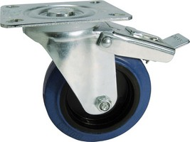 Industrial Castrors - Blue Rubber Tyre, Plastic Centre Swivel Plate Braked